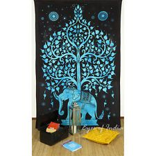 TWIN BLUE HIPPIE INDIAN MANDALA ELEPHANT TREE LIFE TAPESTRY BEDSPREAD Beach Dorm