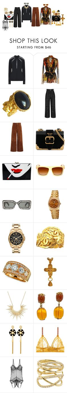 """""""Me & Carol"""" by blujay1126 ❤ liked on Polyvore featuring Free People, FUZZI, Yves Saint Laurent, Vejas, Joseph, Prada, Charlotte Olympia, Earth, Gucci and August Steiner"""