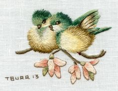 Fledglings embroidery by Trish Burr