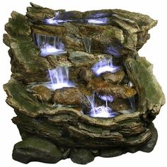 Waterfall Pools Outdoor Fountain w/LED Lights - Click to enlarge