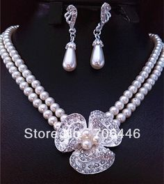 Silver Plated Clear Rhinestone Crystal Diamante Double Strand Ivory Pearl Bridal Necklace and Earrings Jewelry Set US $14.08