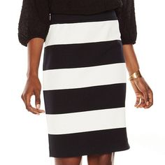 Elle S Striped Ponte Pencil Skirt, NWT New with Tags. This skirt is too big for me in the waist now or I'd definitely keep it. It's a very flattering pencil skirt in a really elegant pattern. Showcase your style stripes with this women's ELLE skirt. Striped pattern and fitted pencil cut combine to give you an updated look. In black/white. PRODUCT FEATURES Stretchy ponte construction Unlined FIT & SIZING 22-in. approximate length Pencil styling Elastic waistband FABRIC & CARE…