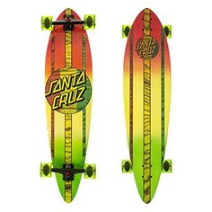 Santa Cruz Mahaka Rasta Fade Pintail Cruzer Complete Skateboard, Assorted, 39.0in L x 9.58in W: Completes are built with soft bushings…