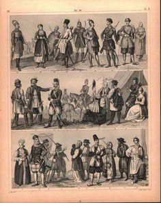 Russian Tribes Ukraine Moscow Volga Novgorod Antique Print 1857