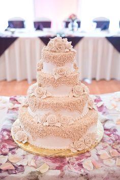 Lace-Decorated White Wedding Cake   Sugar Hills Bakery   Tamara Jaros Photography https://www.theknot.com/marketplace/tamara-jaros-photography-elgin-il-876357