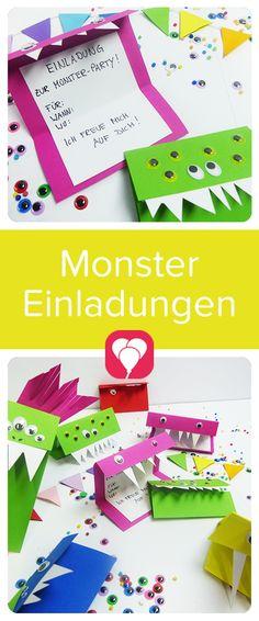"""Sind diese Einladungen nicht crazy? Sie verzaubern bestimmt auch Deine Gäste beim nächsten Kindergeburtstag zum Thema """"Monster"""". Auf blog.balloonas.com findest Du die diy-Anleitung zum Selbermachen. Schau doch mal vorbei und entdecke die vielen Ideen rund um Deinen Kindergeburtstag - von Einladungen über Deko und Essen bis zu Gastgeschenken! #balloonas #kindergeburtstag #monster #einladung #diy #selbermachen #kinder #party"""