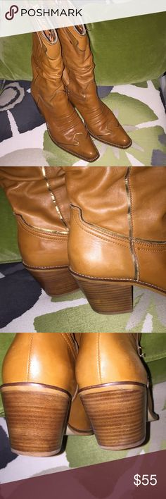 Gianni Bini Leather Cowboy Boots 10M This is a really cute pair of ladies tan leather slouch design cowboy boots with metallic gold/copper trim.  They feel very soft and luxurious. I consider these boots to be in very good condition. The only thing is a tiny quarter inch black scuff mark on the toe of the right boot. It probably could be rubbed off but I didn't want to use any products on them.  Barely visible but I try to mention even the littlest things.  Cute animal print lining. Gianni…