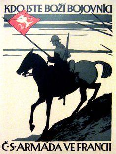 Wee Blue Coo Propaganda War WWI Gods Warriors Slovak Czechoslovakia Horse Unframed Wall Art Print Poster Home Decor Premium Ww2 Propaganda Posters, Wall Art Prints, Poster Prints, Horse Posters, Wwi, Vintage Postcards, Vintage Advertisements, Czech Republic, Military
