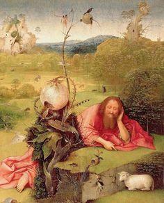 Jérôme Bosch (1485-1510) « Méditation de saint Jean Baptiste » (huile sur bois). L'apparition de la notion de paysage et celle de décors riches et variés