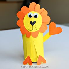 Make a heart shape lion out of recycled toilet paper rolls! It's a fun valentines day craft for kids to make.