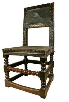 A set of very fine English Cromwellian chairs, one arm and four single with bobbin turned legs and front stretchers, covered in their original hide back and seats. European Furniture, Fine Furniture, Furniture Styles, Antique Furniture, House Of Stuart, Tudor Style, Antique Chairs, Wainscoting, 16th Century