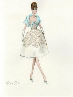 Một bản vẽ hoàn hảo mô tả chiếc váy đặc trưng của thời trang thập niên 50.