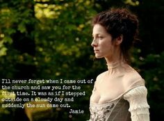 When Jamie saw Claire at the wedding