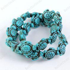 "Tortoise Turtle Carved Turquoise Gemstone Loose Bead Charm 15.5"" L"