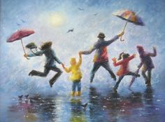 Singing in the Rain Print - Vickie Wade art, family, umbrellas, paintings, prints, rain, leaping, children, happy