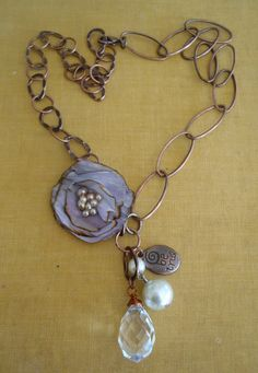 Necklace feminine silk burned edge flower with crystal, pearls and copper