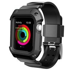 Apple Watch Case Series 2 Series 1, UMTELE Rugged Armor Protective Case with Strap Bands for Apple Watch Series 2 Series 1 Sport Edition 42mm Black (Built in Screen Protector) * See this great product.