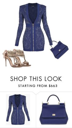 """""""Untitled #5238"""" by browneyegurl ❤ liked on Polyvore featuring Balmain, Dolce&Gabbana and Casadei"""