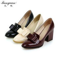 2017 Высококачественные дамские туфли-лодочки из искусственной кожи на толстом каблуке модельные закрытые дамские туфли-лодочки с бантиком и квадратным носом на высоком каблуке