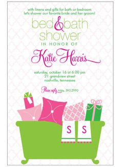 bed and bath shower bath shower girl shower wedding shower invitations party invitations