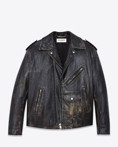 Saint Laurent Oversized Motorcycle Jacket In Black And Beige Leather | YSL.com