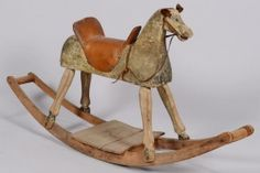 Painted Wooden Rocking Horse With Leather Saddle, Ears And Reins - American c. Late 19th Century