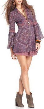 Free People Moonlight Bay Plum Combo dress SZ 6 (s)