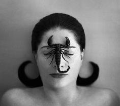 "moma: "" Tonight: Meet Marina Abramović at MoMA Design Store in Soho. [Marina Abramović's Portrait with Scorpion (Closed Eyes), shown reproduced on the limited-edition scarf, with. Op Art, Marina Abramovic, Art Moderne, Artist Life, Art Plastique, Art History, Scorpio Woman, Zodiac Scorpio, Scorpio Eyes"