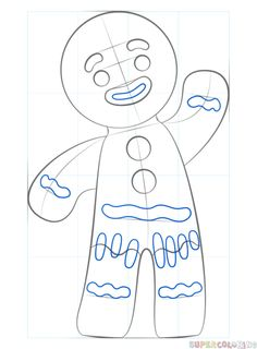 How to draw a gingerbread man step by step. Drawing tutorials for kids and beginners.