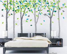 Birch tree wall decals nursery wall decal baby decal children vinyl wall decal girl bedroom boy decal - 6 Birch Trees with Colorful leaves on Etsy, $118.00