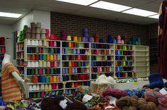 This is one of my favorite stores.  Sigh....  Weaving yarns from Yarn Barn, Lawrence, Ks