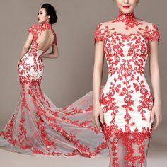 Chinese qipao inspired cherry blossom floral embroidered white and red trailing evening dresses modern Chinese bridal wedding gown - Shop red cheongsam qipao dresses, Chinese bridal wedding dress, red evening gown, Chinese traditional clothing, red wedding favor bags and boxes, red wedding invitation and colorful party evening gown at www.RedChineseDress.com