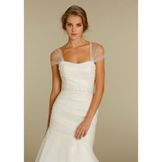 Dropped Off-The-Shoulder Ruched Beading Organza Tulle Long White Wedding Dress
