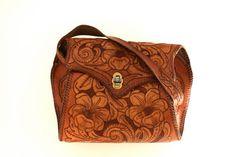 Beautiful Vintage Tooled Leather Purse  1960's by windermerestudio, $42.00