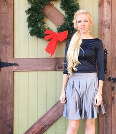 PDF Sewing Pattern - An absolutely fabulous looking ladies pleated skirt & top set with lots of options! Top is knit/stretch fabrics. Skirt is woven fabrics.