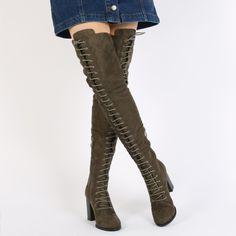 Laney Lace Up Knee High Boots in Khaki Faux Suede   Public Desire