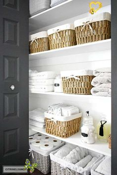ORGANIZED LINEN CLOSET: THE REVEAL - CITRINELIVING  <br> Our organized linen closet reveal! A fresh coat of paint, pretty baskets and major purging, it went from messy and cramped to spacious and airy! Linen Closet Organization, Home Organisation, Bathroom Organization, Organization Hacks, Organization Ideas For The Home, Storage Ideas, Storage Solutions, How To Fold Sheets, Laundry Cabinets