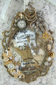 This is a piece for a swap in the Marie Antoinette Art group. I started with a vintage frame I purchased on Etsy (in the picture below). Jewelry Frames, Jewelry Art, Marie Antoinette, Vintage Jewelry Crafts, Found Art, Altered Bottles, Assemblage Art, Button Art, Shabby