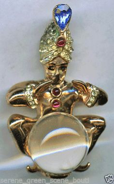Vintage Corocraft Sterling Jelly Belly Rhinestone Fortune Teller Brooch Pin | eBay
