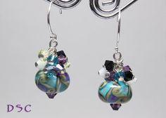 Teal Tan And Tanzanite Lampwork and Swarovski Crystal Cluster Earrings @ Etsy