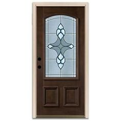 Steves & Sons Reed Full Lite Prefinished Mahogany Wood Entry Door Glamorous Home Depot Kitchen Doors Decorating Design