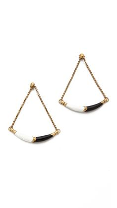 A Peace Treaty Min Earrings   191.13 CDN  A curved, enameled bar swings from chains, lending movement to these post earrings. Antiqued gold plate.    Length: 2.5""