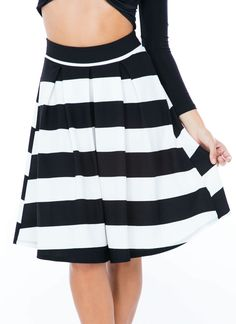 Bring Ur A-Line Game Striped Skirt IVORY - GoJane.com