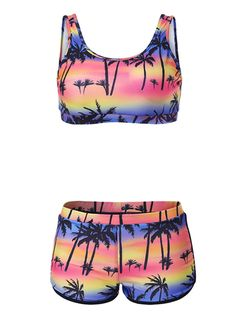 Znalezione obrazy dla zapytania Women Sexy Hot Floral Quiet Sunset Print Swimwear Bikini Sets Sporty Swimsuit Bathing Wear