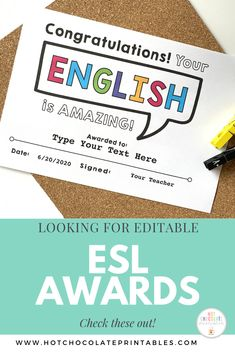 These are great for ESL/EFL and ELD teachers to give out to their students at the end of the year/course/term. They are not specific to any level or skill set but give recognition to the student for progress in English Vocabulary Games, Grammar And Vocabulary, English Vocabulary, Teachers Pay Teachers Free, Teachers Aide, Teacher Must Haves, Award Template, Teacher Name, Classroom Language