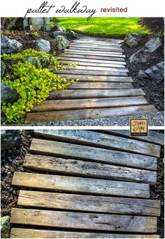pallet garden A PALLET WOOD WALKWAY or PATH in the garden gets a fresh undertaking. and made it unscathed. See how via Funky Junk Interiors Pallet Walkway, Wood Walkway, Outdoor Walkway, Pallet Pathway Ideas, Wooden Pathway, Wood Path, Walkway Ideas, Lawn And Garden, Garden Paths