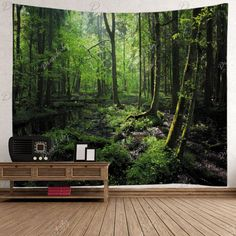 Forest Trees Print Tapestry Wall Hanging Art - GREEN W79 INCH * L59 INCH