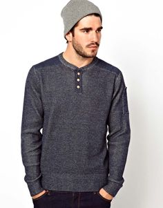 YMC Henley Waffle Patch Top