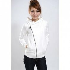 Simple Women's Cotton Hoodie With Solid Color and Zipper Design