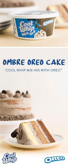 Ombre oreo cake recipe with new cool whip mix-ins, oreo Oreo Dessert, Cookie Desserts, Sweet Desserts, Oreo Cookies, Just Desserts, Delicious Desserts, Yummy Food, Oreo Cake Recipes, Baking Recipes
